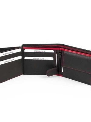 Ανδρικό Δερμάτινο Πορτοφόλι με Εσωτερικό Αριστερό Κούμπωμα για Ασφάλεια Καρτών Fetiche AN 9-388 Μαύρο